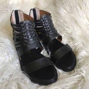 BC Footwear Black vegan leather gladiator sandals